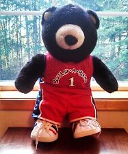 """BUILD-A-BEAR DARK BROWN BLACK TEDDY BEAR 17"""" tall with BASKETBALL OUTFIT & SHOES"""