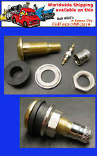 Single HD Brass tubeless tire valve stem complete with metal cap