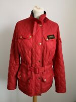 Womens Barbour Flyweight International Red Quilted Jacket with Belt - UK 10