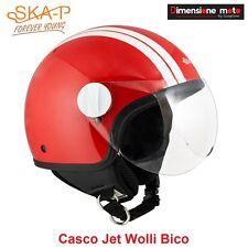 Casco JET Con Visiera SKA-P WOLLI BICO Rosso/Bianco Metal Taglia XS 53/54 cm