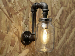 Black industrial iron pipe wall light with Kilner jar - Free UK postage
