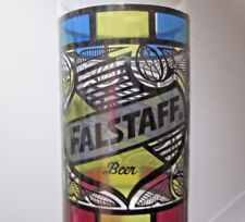 FALSTAFF BEER vintage drinking glass 1970s stained-glass St. Louis Missouri cup