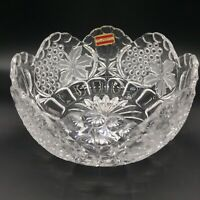 Vtg Hofbauer Lead Crystal Serving Fruit Bowl Grape Leaves Frosted Scallop 8.5""