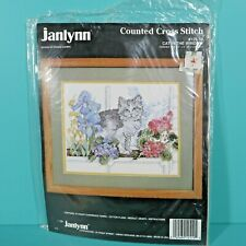 """Janlynn Cat In The Window Counted Cross Stitch 12"""" x 9"""" Donna Giampa Kit #125-19"""