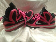Nike Lebron 9 Gs Laser Pink -Silver -Black #472665-600 Size 3Y/Youth Girls Euc!
