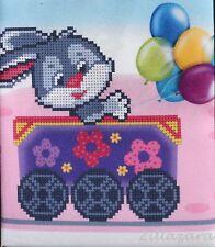 Hase Kinder Motiv Stickpackung Stickbild Stickset Perlen Bead embroidery kit 282