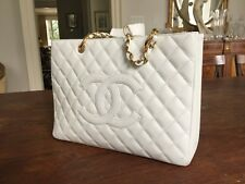 *NEW* DEADSTOCK CHANEL WHITE CAVIAR LEATHER GRAND SHOPPING TOTE GST