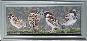 Original large sparrows bird picture painting William Morris art Nouveau fabric