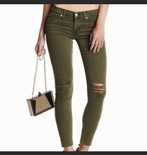 Hudson Krista Olive Green Distressed Jeans Size 32