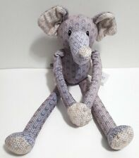 "Hug Fun Plush Elephant 15"" Gray Chevron Long Legs Clasping Hands Plushy Soft EUC"