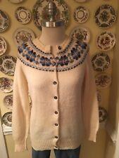 "Vintage 1970s Shetland Scotland Fair Isle Cardigan Sweater Ivory 36"""