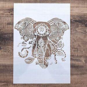 DIY Craft Mandala Elephant Stencils For Painting On Wood Fabric Wall Art