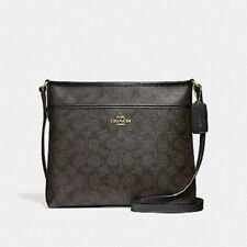New Authentic Coach F29210 File Bag Crossbody Messenger Handbag Purse Brown/BLK