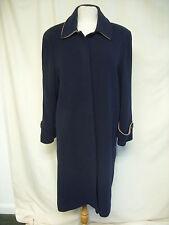 "Ladies Coat Kesta London navy long, wool/cashmere, UK 14, EU 40, length 45"" 2213"
