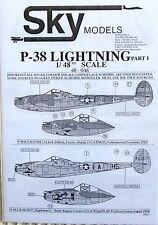 Skymodels 1/48 48048 Lockheed P-38 Lightning decal set part 1