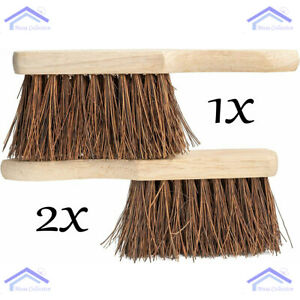 Home Wooden Hand Sweeping Brush Heavy Duty Bassine Bristles Set Of 1 &  2