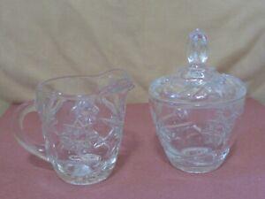 Vintage Clear Pressed Glass Lidded Sugar and Creamer Set