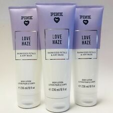 3 Victoria's Secret PINK Love Haze Body Lotion 8 oz Rainkissed Petals Airy Musk
