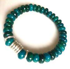 Azurite Chrysocoll gemstones & Links Of London sweetie silver rings, Bracelet
