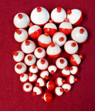 37 Assorted Fishing Bobbers Round Floats Red & White Snap On New