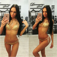 New Women Push Up Beach Swimwear Sequin Triangle Bra Bikini Set Bathing Swimsuit