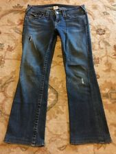 Womens True Religion Becky Jeans 29x29 Boot Cut Stretch Flap Pocket Distressed