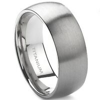 8MM Size 7-15 Solid Titanium Ring Brushed Men Wedding School Engagement Band