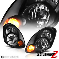 For 2005-2006 Infiniti G35 Sedan [Factory D2S HID] Black Headlight Assembly L+R