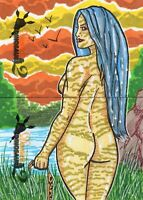 Damsels And Dinosaurs 2 Two Panel Puzzle By Nathan Ohlendorf Sketch Card
