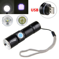 Mini USB Rechargeable 2000lm Q5 LED Flashlight Torch Hunting Lamp Light 3 Modes