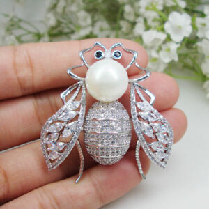 Silver Tone Unique Bee Insect Pearl Woman Brooch Pin Zircon Crystal Gifts