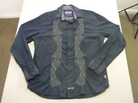 088 MENS NWOT ENGLISH LAUNDRY BLK / BRONZE EMBROID L/S SHIRT SZE MEDM $140 RRP.