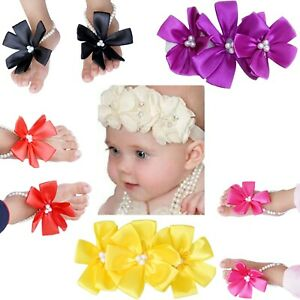Pack of 2 Baby Girl Flower Headbands Soft Elastic Hairband Pearl Accessories