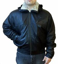 GENUINE LAMB LEATHER COAT JACKET W/ REMOVABLE LINING, HOOD, SHEARLING COLLAR, XL