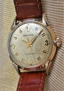 Vintage Bulova selfwinding watch,steel & gold filled,superb textured dial, runs
