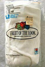 Vtg 1986 Fruit of the Loom Men's Briefs Large 38-40 Nip White Underwear Usa