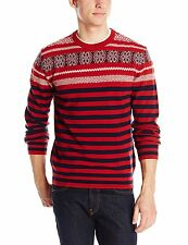 French Connection Men's Fairisle Stripe Crew Neck Sweater Size XXL - Scarlet ^
