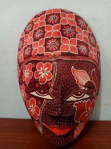 BEAUTIFUL HAND CARVED WOOD BATIK MASK JAVA ART WALL DECOR ORNAMENT RED MALE 02