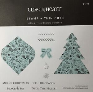 CTMH Holly & Ivy Cardmaking Workshop Stamps & Thin Cuts - Christmas, Tree, Bow