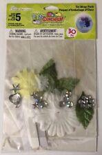White Floral Tin Wrap Pk(30pc)Creativity Work*Rhinestones*Ribbon*F eather*Wedding