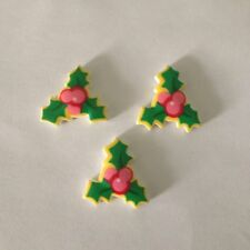 3 x Resin Christmas Holly and Berries Flatback Resins Embellishments Cabochon