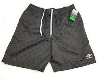 Vintage 90s Style Umbro Shorts Black Shiny Checkerboard Nylon Soccer Shorts S-L
