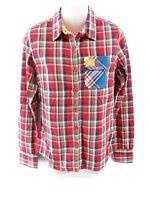 SUPERDRY Womens Shirt S Small Red Green Blue Check Cotton