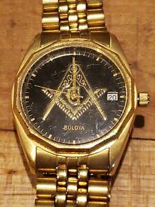 Gold-tone BULOVA MasonicDial Watch original band Vintage 1970's *Must See*