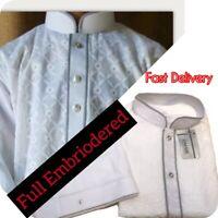 Shalwar Kameez Mens  Cotton Heavy Embroidery    WHITE