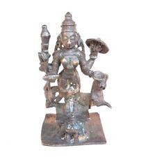 1750's Old Vintage Antique Copper Hand Carved Hindu Goddess Durga Figure Statue
