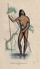 HUNTER FROM NEW GUINEA WITH SPEAR  - Hand Colored Lithograph -1843