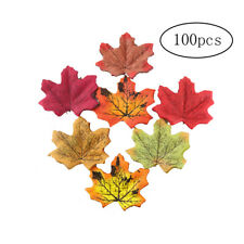 100 Pieces Artificial Autumn Maple Leaves Mixed Colored Maple Leaf 8*6cm