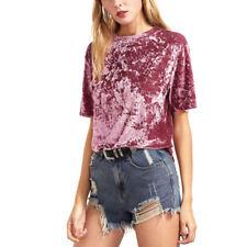 Women Vintage Soft Velvet Casual Blouse Casual Tops Short Sleeve T Shirt Summer