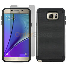 Hybrid Rubber Case+LCD Screen Protector for Android Samsung Galaxy Note 5 Black